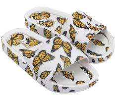 Kids Beach Slide Print White Butterfly