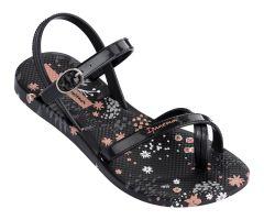 Kids Fashion Sandal 21 Black Flower